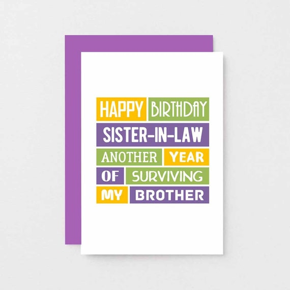 Funny Sister In Law Birthday Card Sister In Law Card Wife Of Brother Sis In Law For Sister In Law Se0182a6