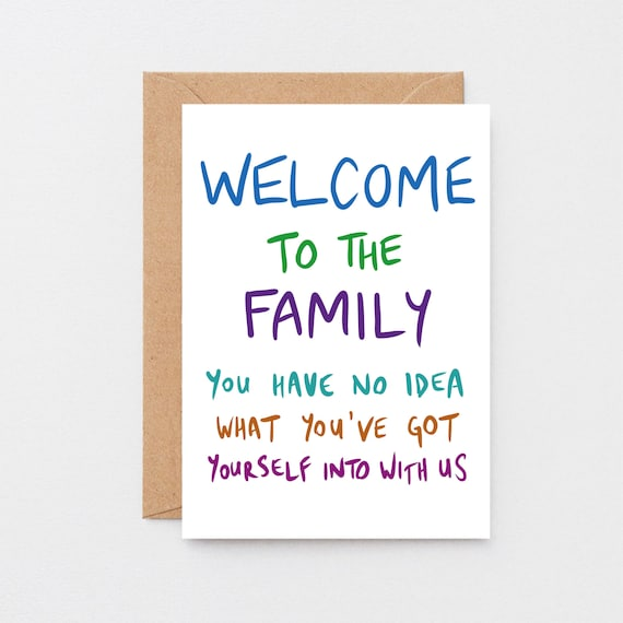 Funny Wedding//Engagement Card Son//Daughter in Law Welcome to The Family