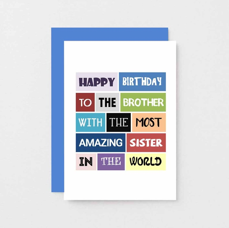 Brother Birthday Card From Sister Birthday Humour Bro Birthday Greetings Funny Birthday Card For Brother Joke For Him SE0145A6