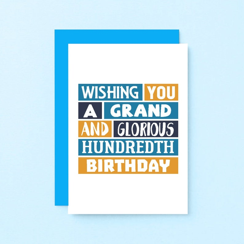 Happy Hundredth Birthday Card 100th Hundred