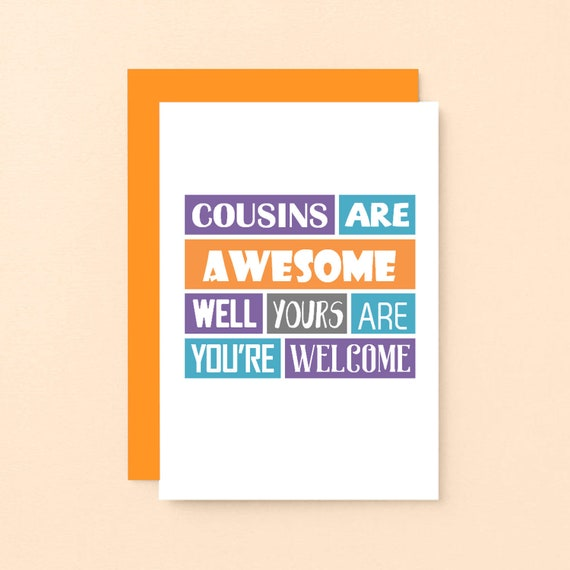 Cousin Geburtstagskarte Lustige Cousin Karte Lustige Etsy
