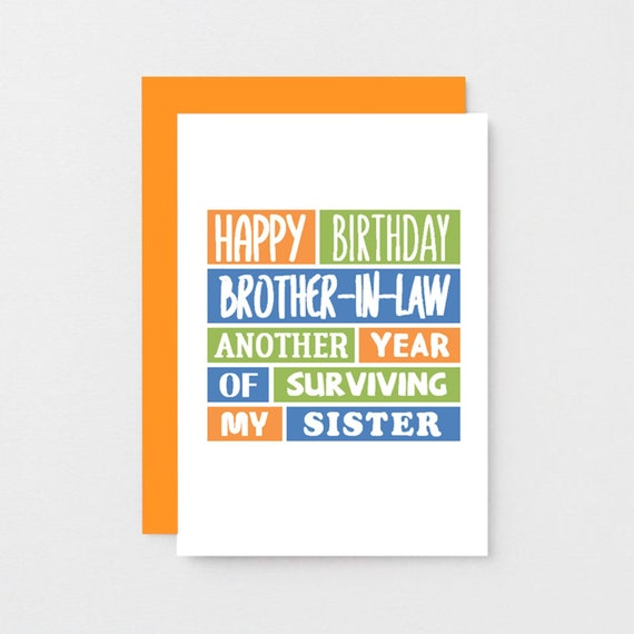 Funny Brother In Law Birthday Card Sarcastic