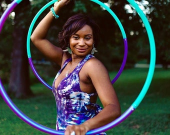 Custom Interchangeable double sectional dance hula hoops // travel hoops// collapsible push buttons