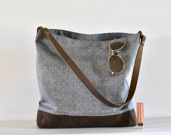 ebaa0499bca3 Hobo Bag - hobo purse - gray dot hobo purse - slouchy shoulder bag -  slouchy purse - shoulder bag - waxed canvas hobo bag - purse