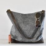 Hobo Bag - hobo purse - gray hobo purse - slouchy shoulder bag - slouchy purse - shoulder bag - waxed canvas hobo bag - purse