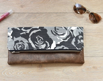 Black and white floral fold over clutch- fold over clutch - fold over purse - black purse - black and white clutch - faux leather purse