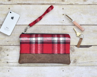 Red, black and white plaid flannel wristlet - Faux leather wristlet - plaid flannel wristlet - small purse - gift for her -fall clutch