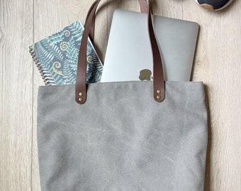 Gray canvas tote bag - canvas tote bag - tote bag - canvas bag - shoulder bag - gray tote bag