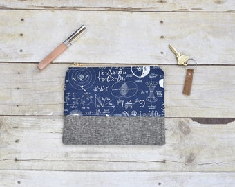 Navy zipper pouch - Zipper pouch - small pouch - navy and gray pouch - science fabric pouch - gifts for her - makeup bag - small wallet