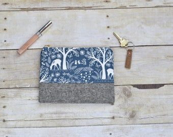 Blue zipper pouch - Zipper pouch - small pouch - navy and gray pouch - forest animal pouch - gifts for her - makeup bag - small wallet