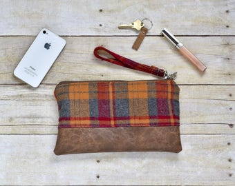 Red, orange and gray plaid flannel wristlet - Faux leather wristlet - plaid flannel wristlet - small purse - gift for her - fall clutch