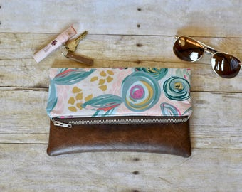 Floral fold over clutch- fold over clutch - floral purse - pink and blue clutch - vegan leather clutch - faux leather purse - floral purse