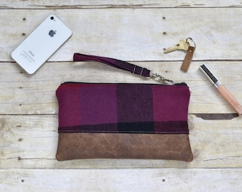Purple, Burgundy and black plaid flannel wristlet - Faux leather wristlet - plaid flannel wristlet - small purse - gift for her -fall clutch