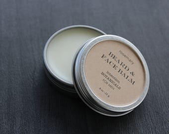 Rosemary Beard & Face Balm | Lightweight All Natural With Buckthorn Extract Argan Jojoba Coconut Oil | Stocking Stuffer Gifts For Him