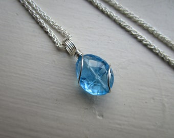 Swiss Blue Topaz Necklace, Genuine Blue Topaz Pendant, December Birthstone Necklace