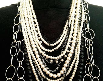 Pearl and chain necklace, art deco, multi strand necklace, fashion statement necklace, gift for mom, extravagant jewelry, gift for women