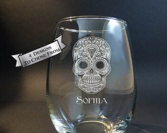 Sugar Skull Engraved Wine Glass, Champagne Flute, Day of the Dead, El Dia de Los Muertos,4 Designs Available, Personalized Gift