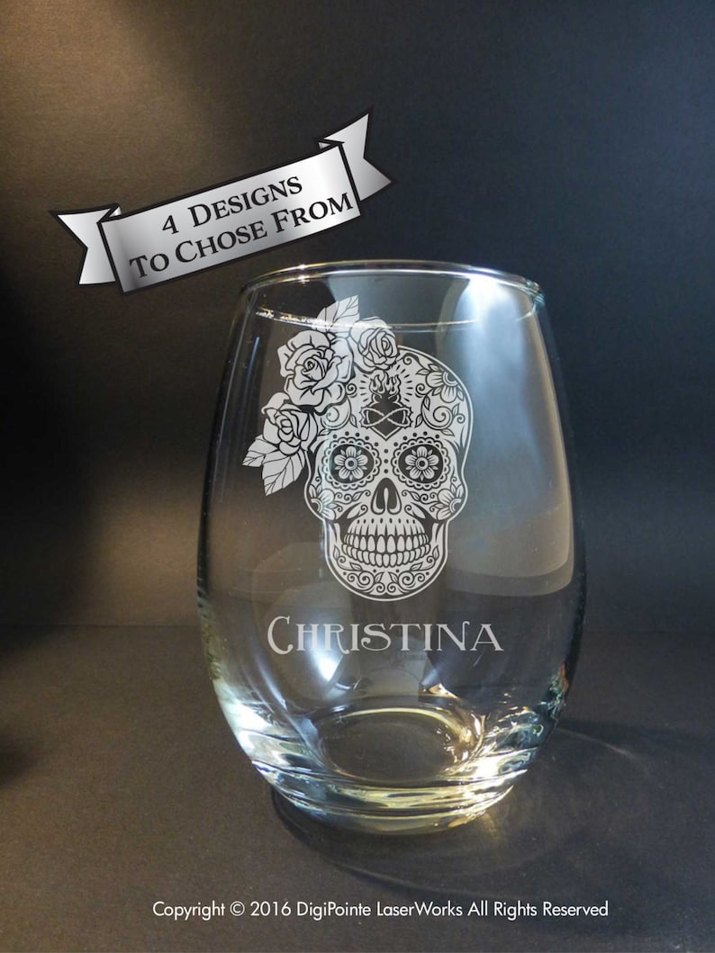 Bride Sugar Skull Engraved Stemless Wine Glass Ladies Sugar image 0
