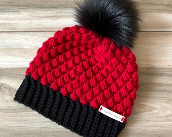 1f155f8f1de85 Crocheted Red and Black Adult Beanie w Faux Fur Pom - Handmade Beanie -  Winter