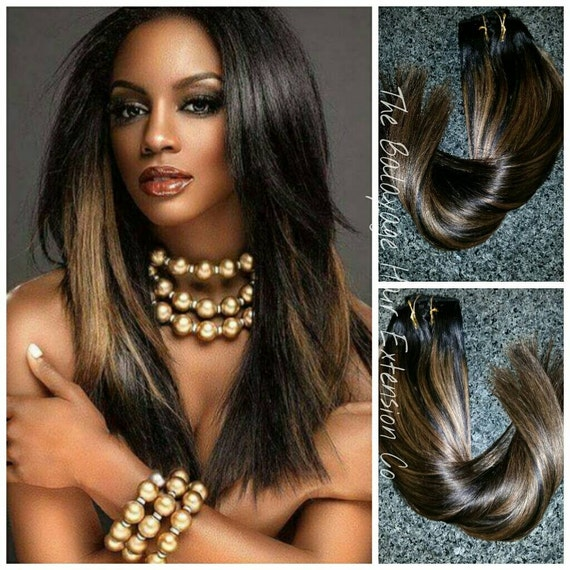 Black Hair Bronze Balayage Highlights For Black Tones 120 Etsy