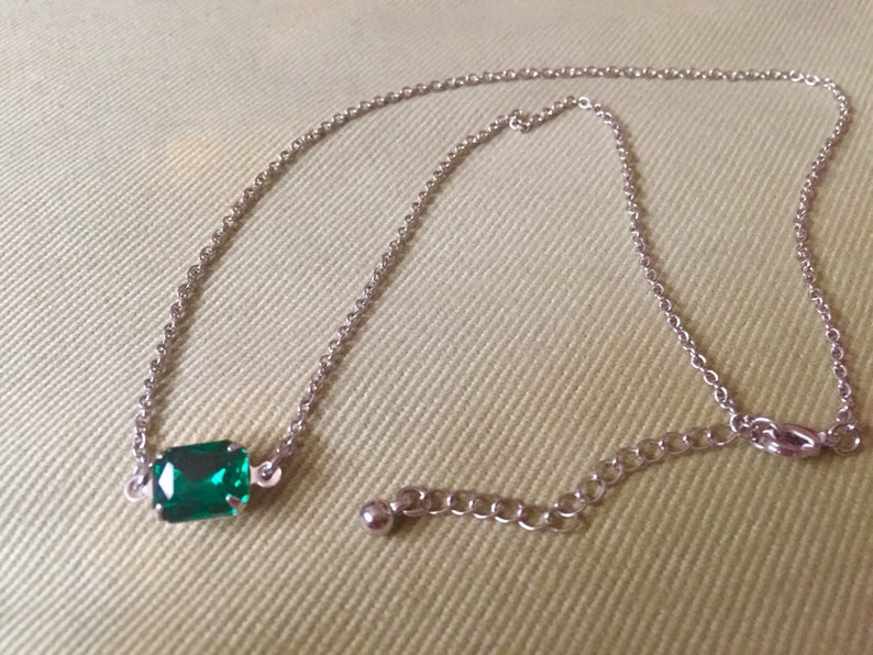SALE Delicate necklece choker Emerald chocker Czech glass choker classic chocker boho chick chocker minimalistic