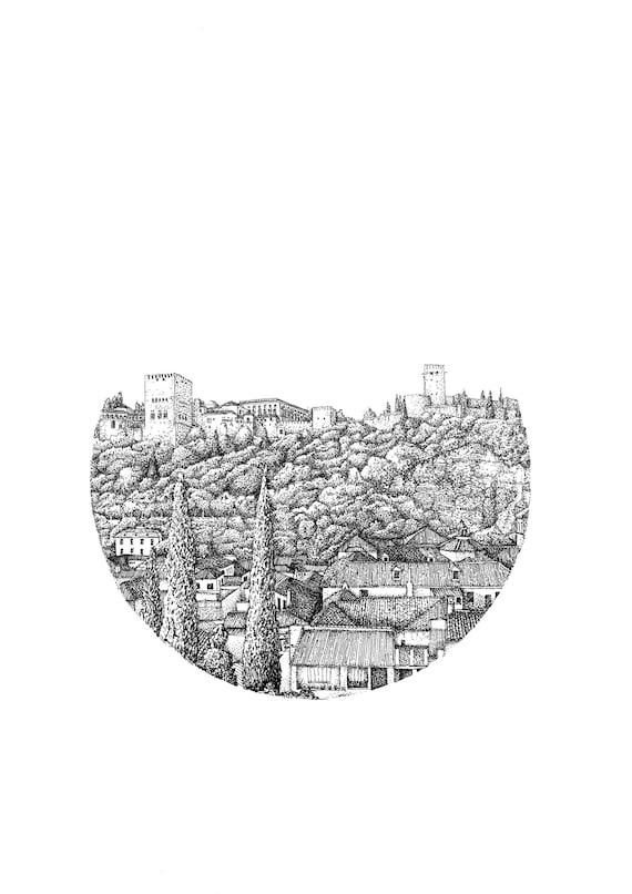 Spain Black and White Granada Sketch Limited Edition Print