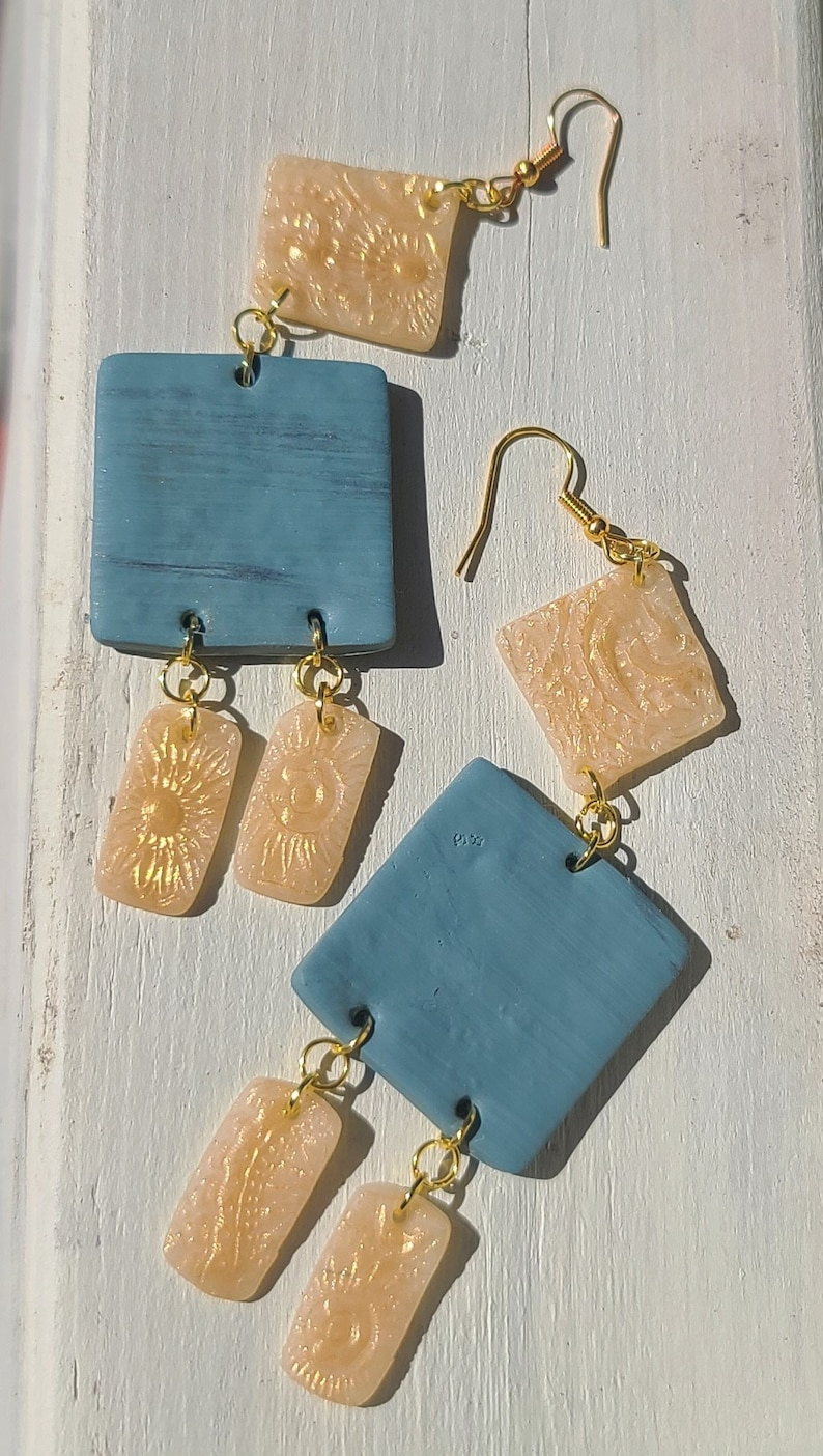 Details about  /Boutique Brand Gold Colored Large Hoops with Aqua Bead