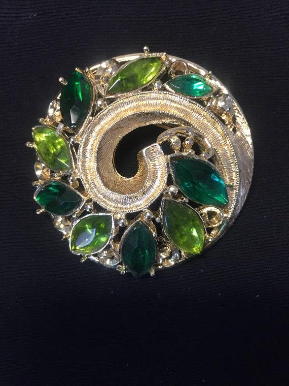 Emmons Vintage Green Rhinestone Brooch