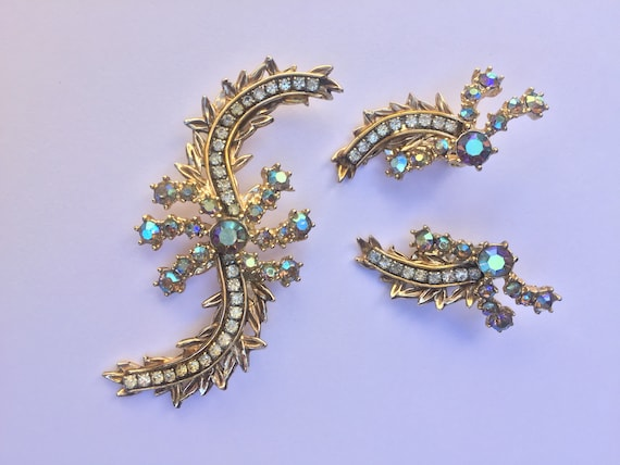 Vintage Har Signed AB Rhinestone Brooch and Earrin