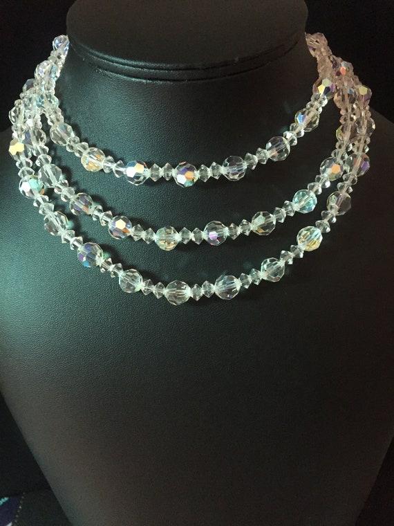 Lisner Vintage Aurora Borealis Triple Strand Neckl