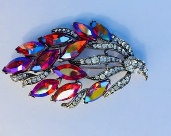 Weiss Signed Flaming pink, rosy red, blue AB Rhinestone Brooch