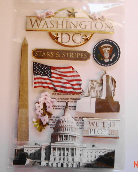 Washington Dc White House Paper House 3d Stickers Dimensional Set Acid Free Scrapbooking Cards Journals Crafts Collage P29