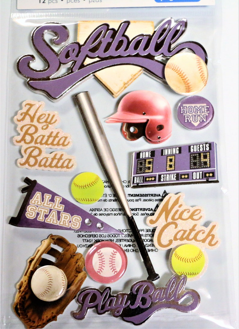 Softball Paper House 3d Stickers Dimensional Set P59 Acid Free Scrapbooking Cards Journals Craft Projects Collage