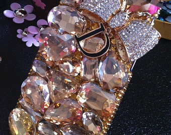 550414290 Bling Luxury Big 3D Champagne Gems Letter D Golden Bow Pendant Crystals  Rhinestones Diamonds Gems Fashion Hard Cover Case for Mobile Phone