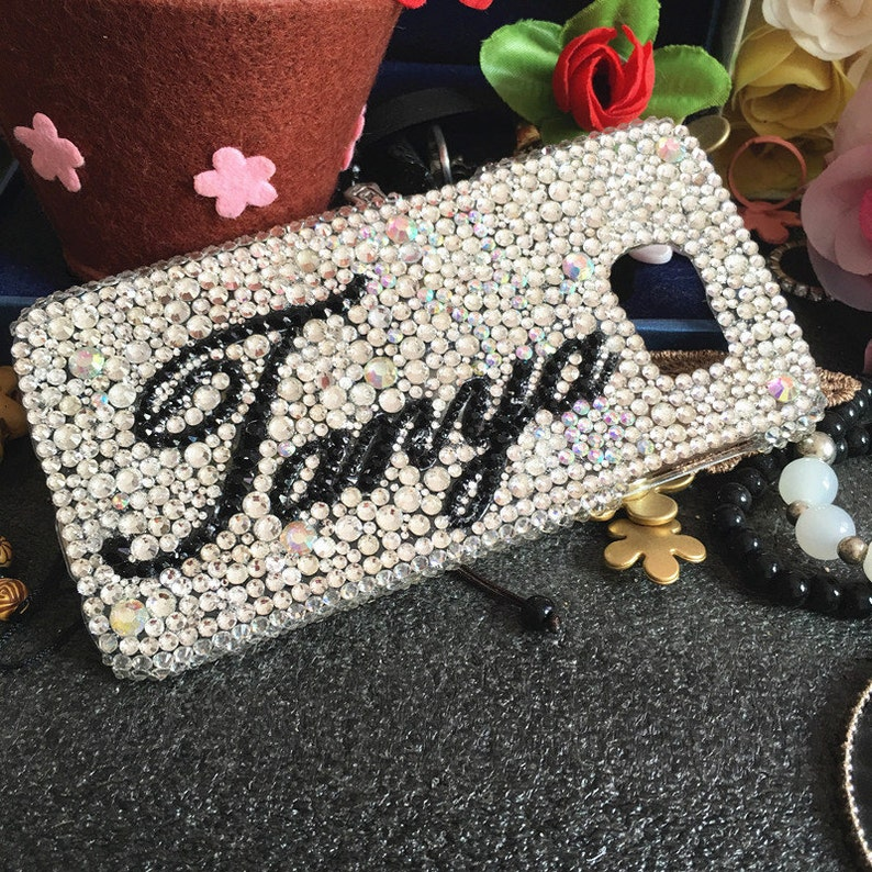 Cute Personalized Diy Custom Name Bling Sparkly Cursive Letter Words  Crystals Rhinestones Diamonds Gems Fashion Hard Cover for Mobile Phones