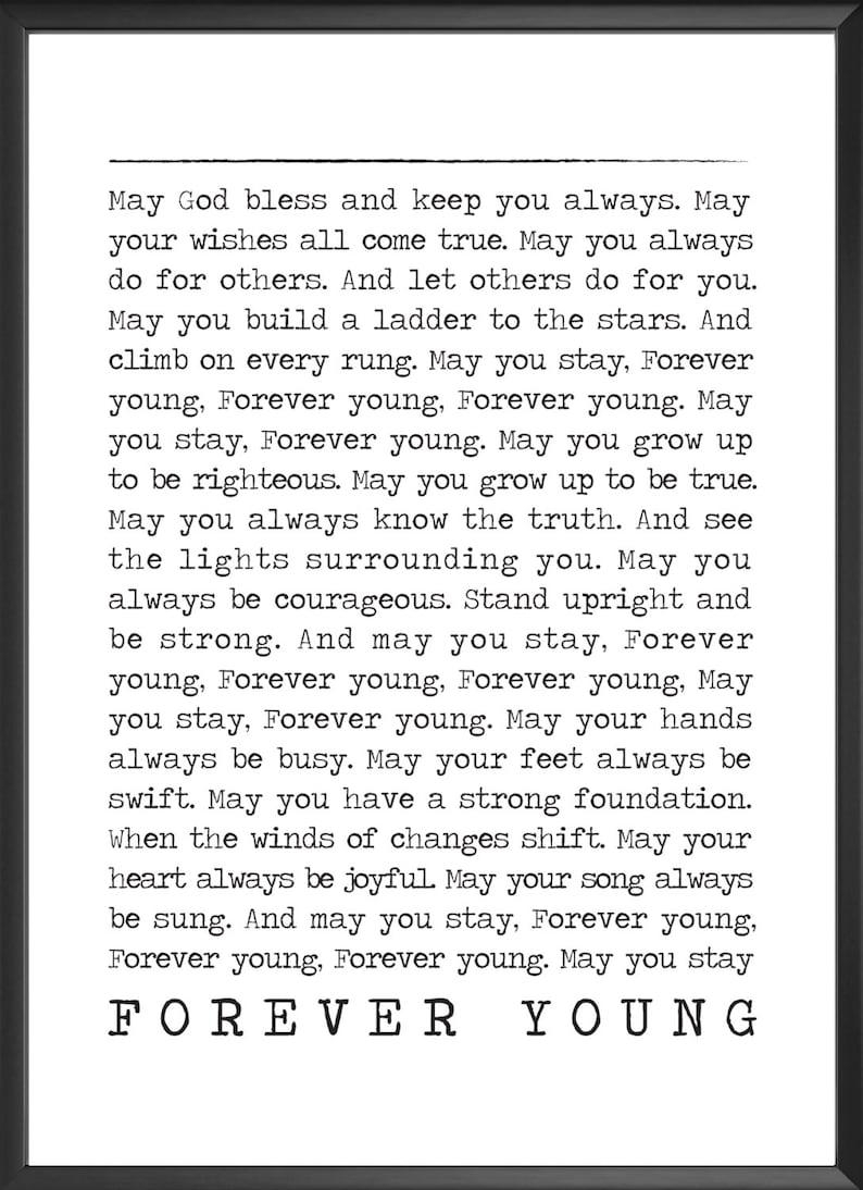 FOREVER YOUNG poster Bob Dylan lyrics Song Lyric Prints | Etsy