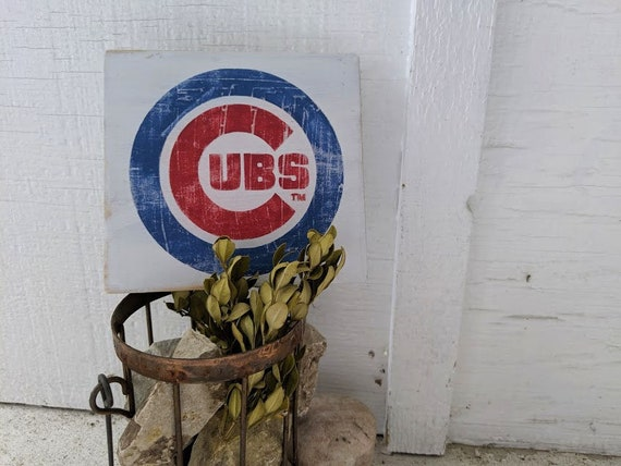 Chicago Cubs Logo Wood Sign Cubs Baseball Sign Chitown City Of Chicago Mlb Sign