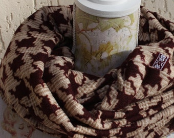 Infinity scarf, jersey knit fabric,burgundy and beige, Free shipping