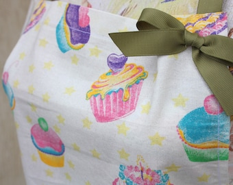 Kitchen adult apron, with cupcakes, handmade apron, fun kitchen apron gift,Free shipping