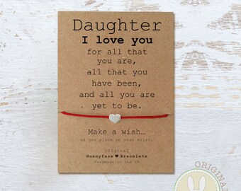 DAUGHTER I LOVE YOU Wish Bracelet Card Silver Or Gold Bead On Waxed Cord Jewellery Gift Mum Child Girl Quote Birthday Personalised