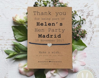 HEN PARTY Wish Bracelet, Personalised Hen Party Gifts, Hen Party bag Fillers, Hen Party Ideas, Friendship Bracelets For Hen Party,