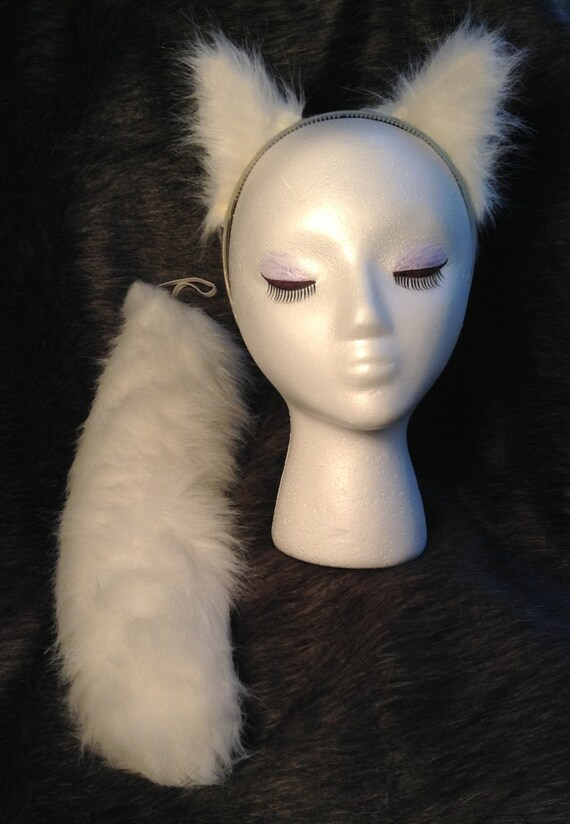"""White Arctic Fox Wolf Cat Dog Ears Great High Quality Faux Fur 17/"""" Tail Set"""