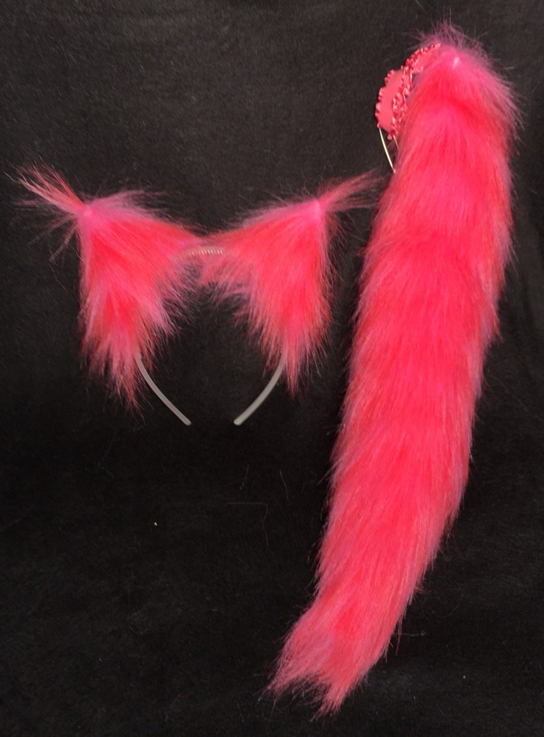 faux-fur Cheshire Cat Cosplay Anime Furry Kitty Costume Clip or Headband Ears Pink Cat Ears and Tail12 SET Combo Clip-on or Elastic Tail