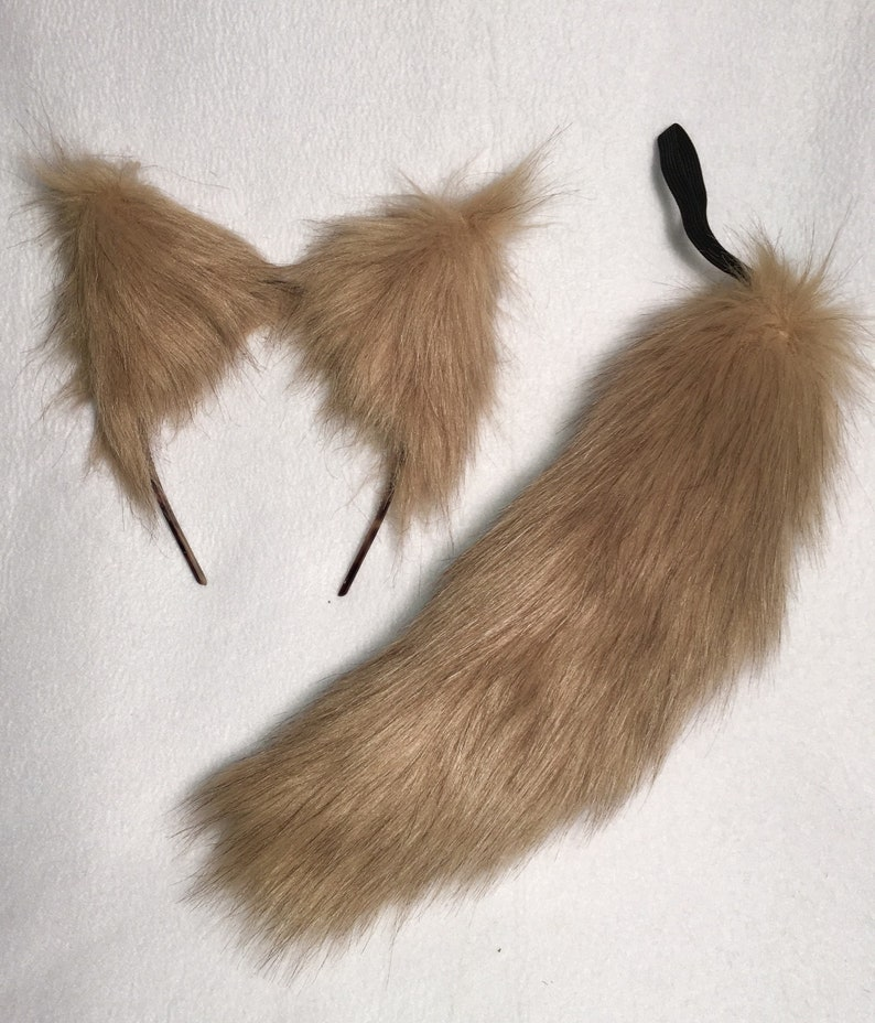 Wolf Ears and Tail13 SET Fox Cat Dog Lt Teddy Bear Honey Brown-Blond Realistic Faux Fur Clip-on or Elastic Tail Headband or Clip Ears