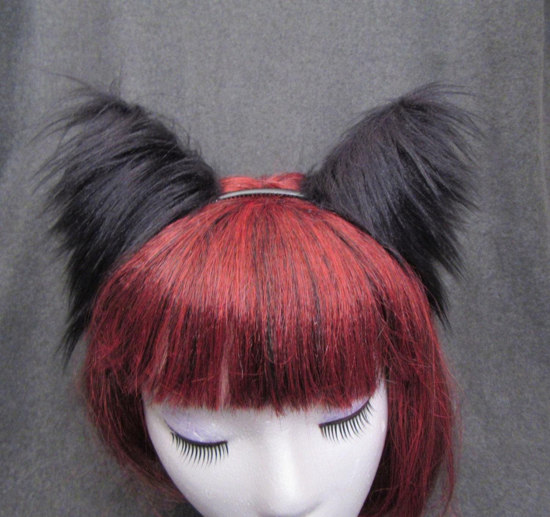 White Headband Ears Arctic Fox Wolf Cat Dog Kitten Realistic Long Faux Fur
