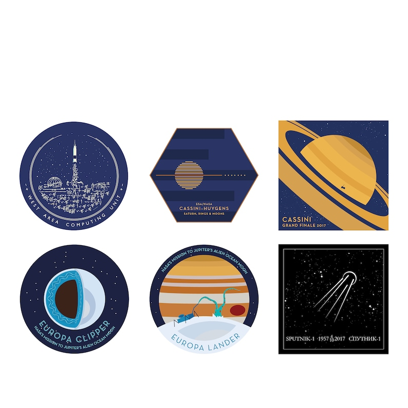 Set of Space Mission Patch vinyl sticker reimagined space image 0