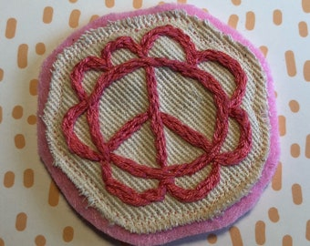 Embroidered Peace Flower Patch