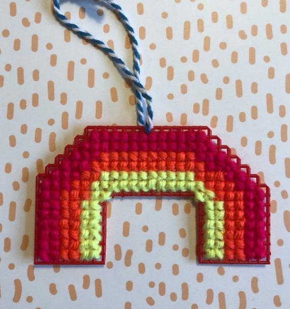 Rainbow Cross Stitched Ornament