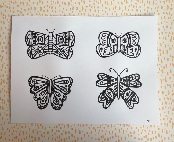 Screen Printed Butterfly Art