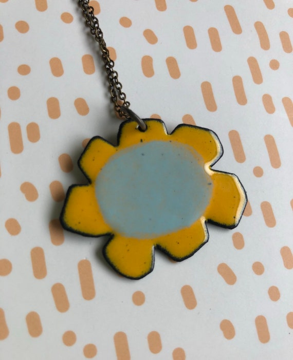 Yellow and Blue Flower Enamel Necklace